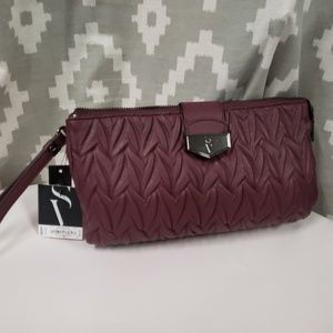 Simply Vera burgundy clutch purse new with tags